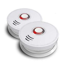 2 Pack Battery Operated Smoke Detector Smoke Fire Alarm 10 Y