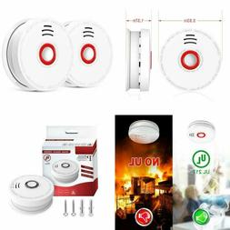 2 Pack Photoelectric Smoke Detector Alarm Battery-Operated S