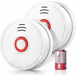 2 Pack Smoke Detectors, Alarm, UL Listed Fire With 9V DC Bat