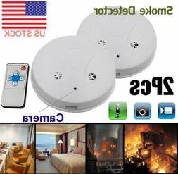 2X Smoke Detector Fire Alarm Camera HD Spy Recorder Battery