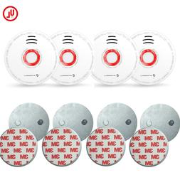 SITERWELL 4 pack Battery Operated Smoke  Alarm 4 pieces Magn