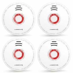SITERWELL 4 Packs Photoelectric Smoke Detector & Alarm Batte