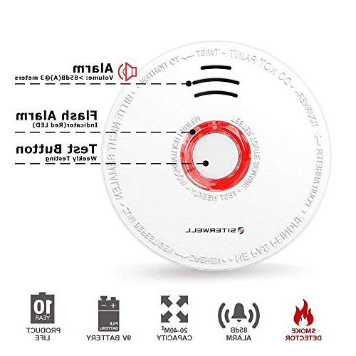 Siterlink Smoke Detector Alarm, Battery-Operated Photoelectric