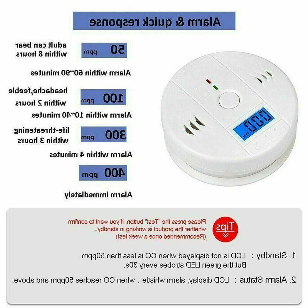 CO Carbon Monoxide Detector Gas Alert Home