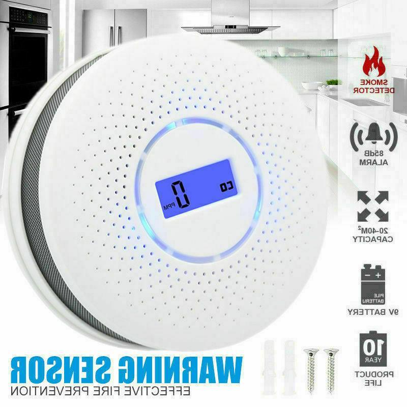 Smoke Carbon Monoxide CO Detector Combine Alarm Gas Warn Tes