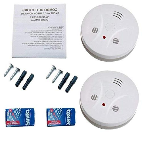2 Pack Combination Photoelectric Smoke Carbon Alarm Detector for Bedroom Portable Battery Operated