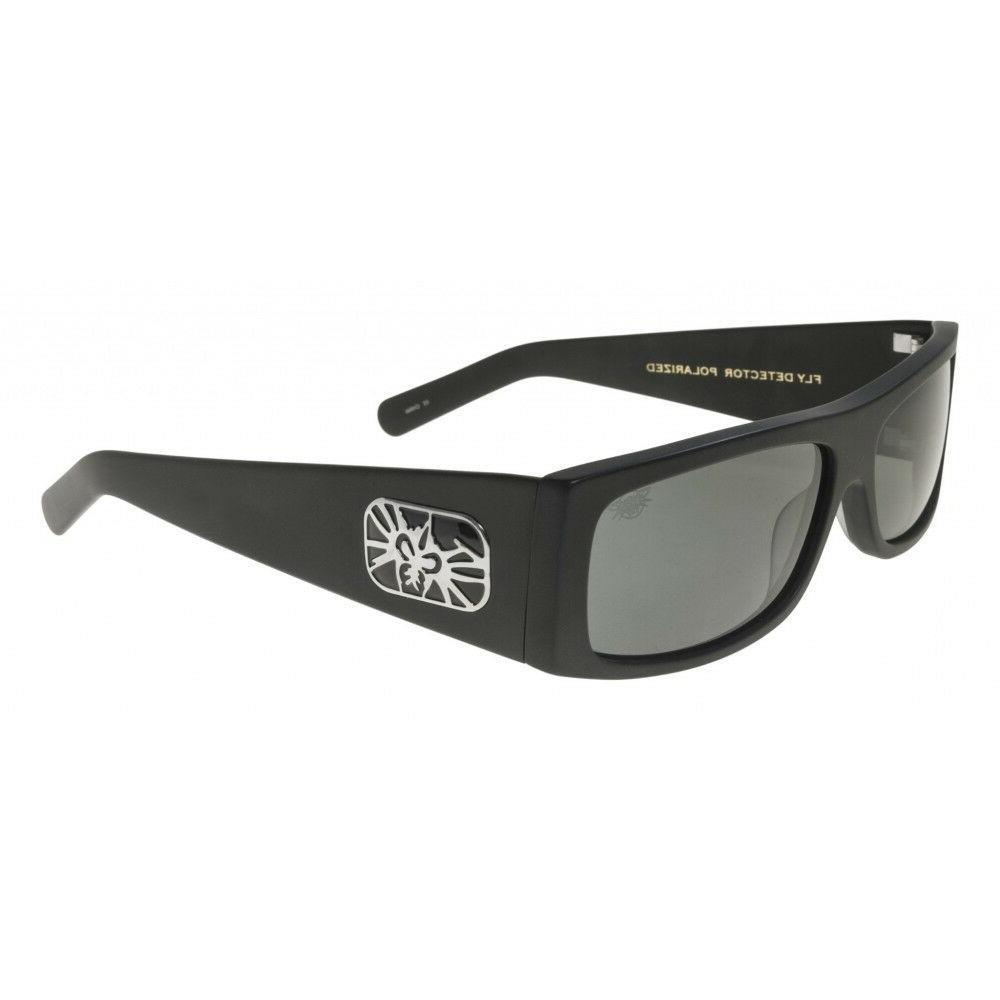 fly detector sunglasses matte black smoke polarized