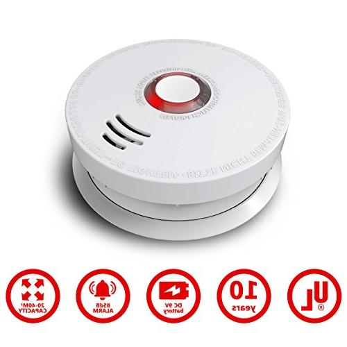Smoke Detector, Pack Photoelectric Smoke Fire Alarm with Listed GS528A Battery-Powered ,10 Years Life Lives Fire at Home, Hotel, School