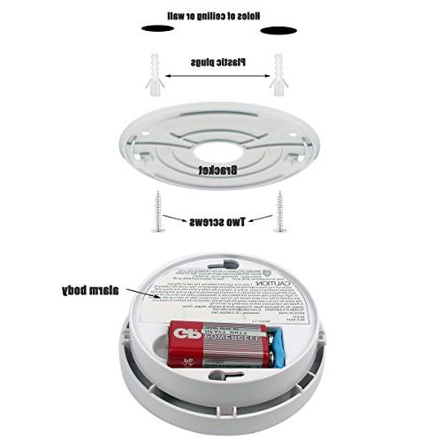 Smoke Alarm Pack with Test Button 9V Powered Photoelectric with Safety for Bedroom,Kitchen,Corridor,Bathroom Hotel