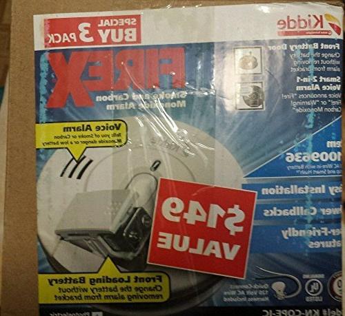Kidde 120-Volt Photoelectric Smoke Carbon Battery 3-pack
