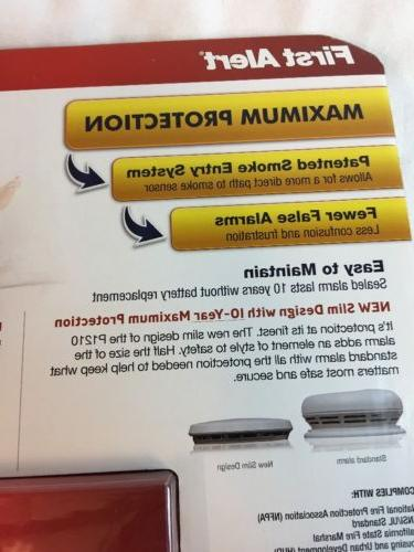 First Smoke Fire Detector 10 Lithium Cell Slim Design 2 Pack New M6
