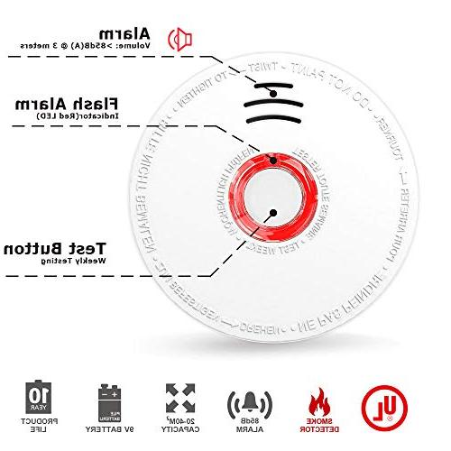 Smoke Detector and Fire Sensor Smoke to Install With UL Sound Warning, Test Battery Fire Safety for