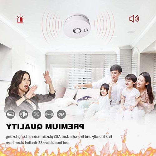Smoke Detector Alarm 4 Pack Photoelectric Sensor Smoke to With Sound Warning, Test Battery Safety for