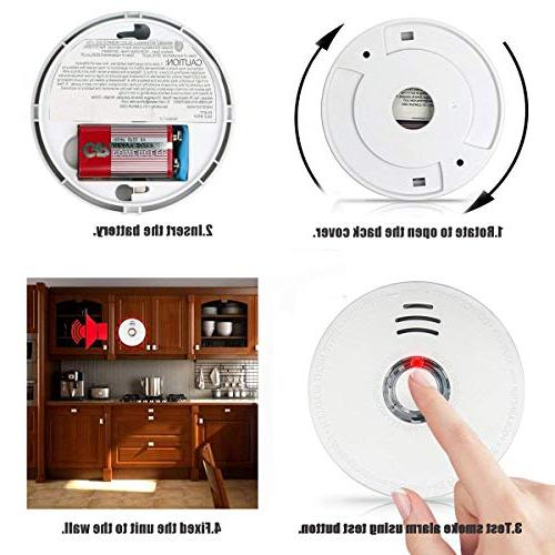Smoke Packs Photoelectric Smoke Alarm with Light Sound 9V Battery Safety for Hotel Certification