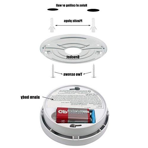 Smoke Fire Packs Photoelectric Alarm with Light 9V Battery Safety for School etc Certification