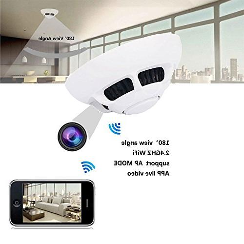 1080P Fire APP Control 140 Wireless Network Smoke Nanny Video Recorder support