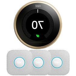 Google Nest Learning Thermostat 3rd Gen, Brass w/ 3x Protect