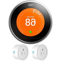 Nest  Learning Thermostat 3rd Gen, Stainless Steel with Deco