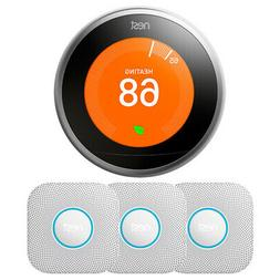 Google Nest Learning Thermostat 3rd Gen  w/ 3-Pack Nest Prot
