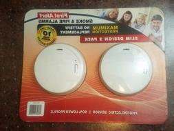 First Alert Smoke & Fire Detector 10 Yr Lithium Cell Slim D