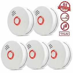 Photoelectric Smoke Detector 5 Packs Portable Smoke and Fire
