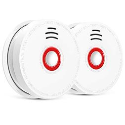 2 Pack Photoelectric Smoke Detector & Alarm, Battery-Operate