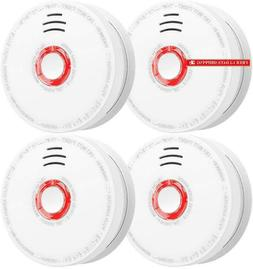 Smoke Detector And Fire Alarm 4 Pack Photoelectric Sensor Sm