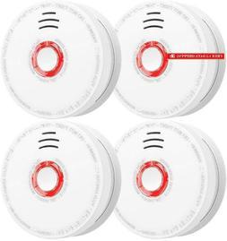Smoke Detector And Fire Alarm 4 Pack Photoelectric Sensor Sm