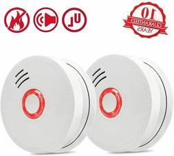 Smoke Detector Fire Alarm, 2 Packs Photoelectric Smoke Detec