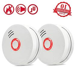 Smoke Detector Fire Alarm 2 Packs Photoelectric Smoke Detect