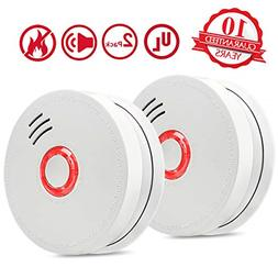 DASINKO Smoke Detector Fire Alarm, 2 Packs Photoelectric Smo
